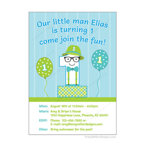 Little Man 1st Birthday Invitation