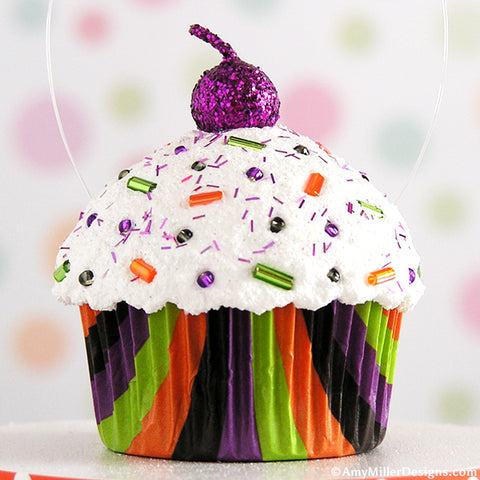 Halloween Tree Ornament Mini Faux Cupcake Decoration