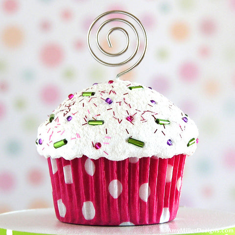 Polka Dot Mini Faux Cupcake Photo Note Holders