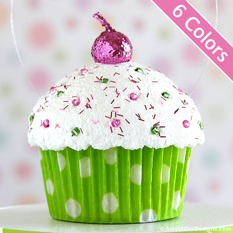 Polka Dot Mini Faux Cupcake Decoration