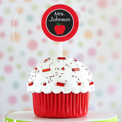 Personalized Teachers Mini Faux Cupcake Decoration