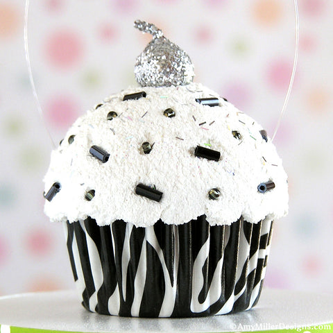 Zebra Print Mini Faux Cupcake Decoration