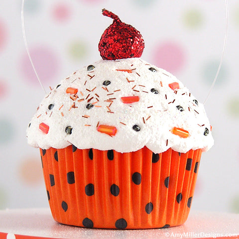 Orange & Black Polka Dot Mini Faux Cupcake Decoration