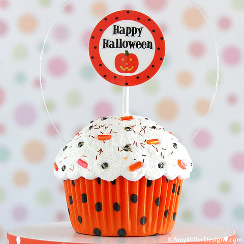 Happy Halloween Polka Dot Mini Faux Cupcake Decoration