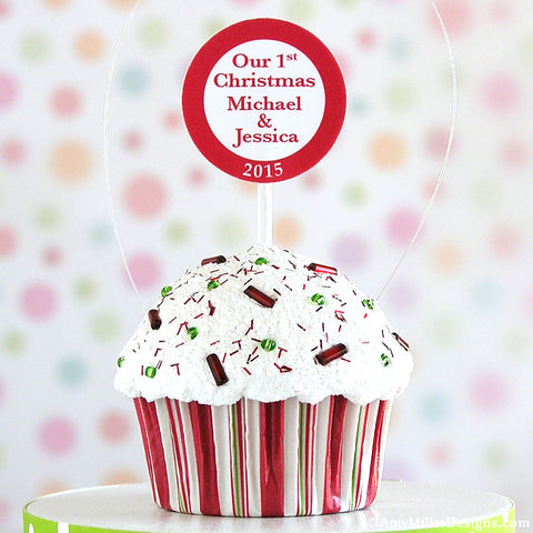 Our First Christmas Stripe Mini Faux Cupcake Ornament