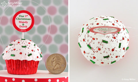 Our First Christmas Red Foil Mini Faux Cupcake Ornament