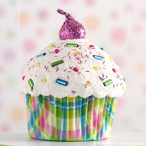 Pastel Plaid Faux Cupcake