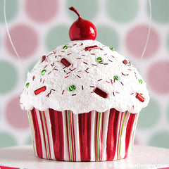Christmas Stripe Mini Faux Cupcake Decoration