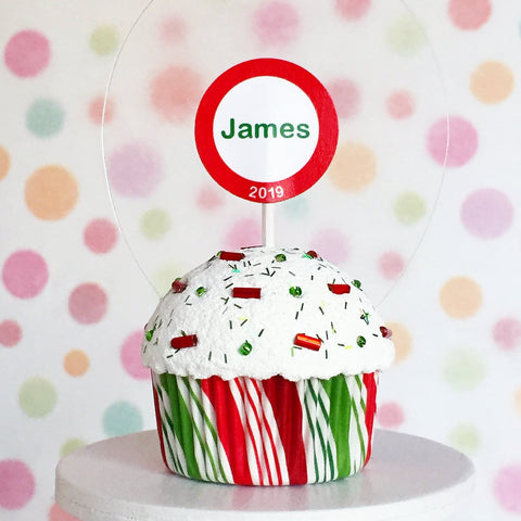 Personalized Kids Christmas Ornament - Cupcake