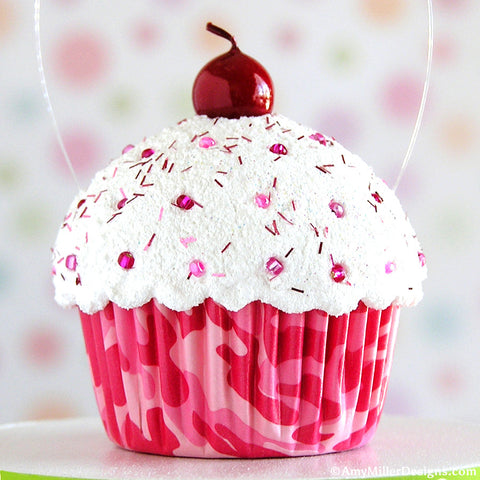 Pink Camouflage Mini Faux Cupcake Decoration