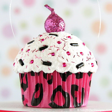 Hot Pink Leopard Print Mini Faux Cupcake Decoration