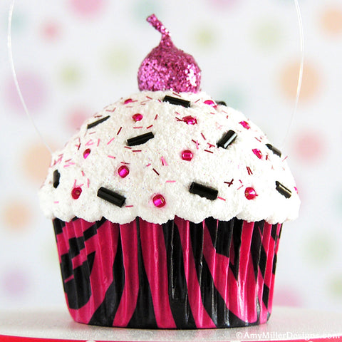 Hot Pink Zebra Print Mini Faux Cupcake Decoration