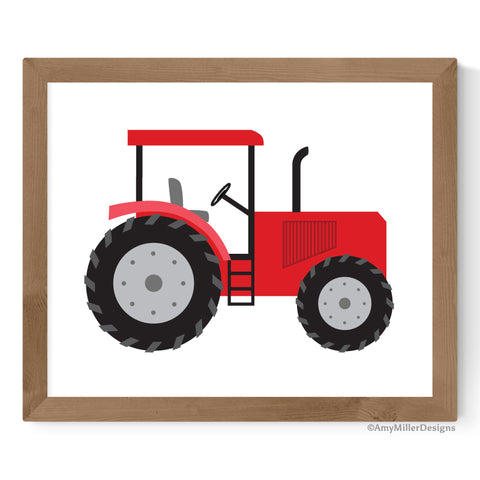 red tractor artwork for boys nursery