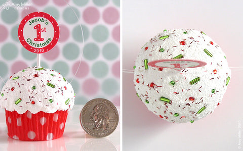 Baby's First Christmas Polka Dot Mini Faux Cupcake Ornament
