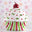 Red Green and White Stripe Mini Faux Cupcake Decoration