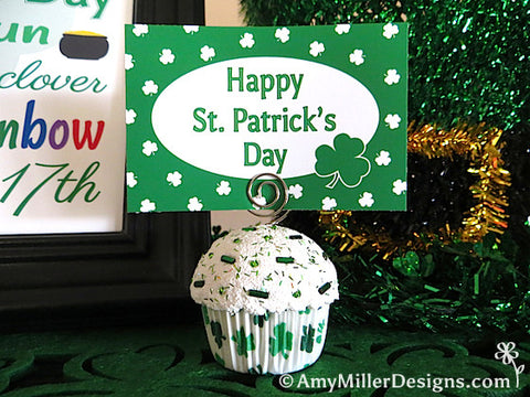 Green Shamrocks Mini Faux Cupcake Decoration