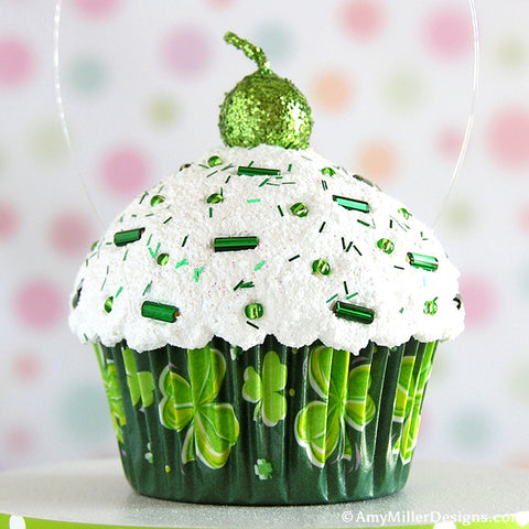 Dark Green Shamrocks Mini Faux Cupcake Decoration