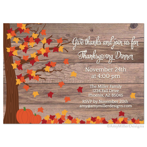 Thanksgiving Day barn wood Invitation