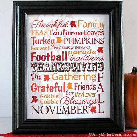 Thanksgiving Day Words Art Print