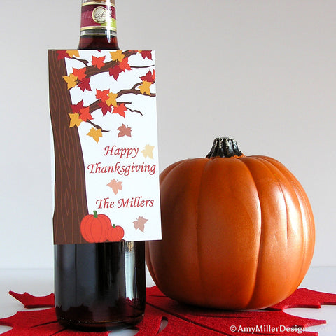 Thanksgiving Wine Bottle Gift Tag