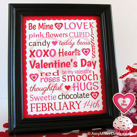 Valentine's Day Word Art Print