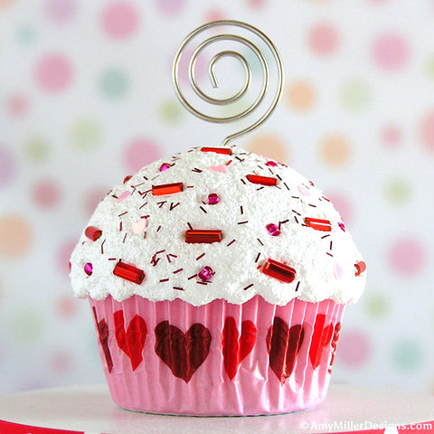 Pink and Hearts Mini Faux Cupcake Photo Note Holder