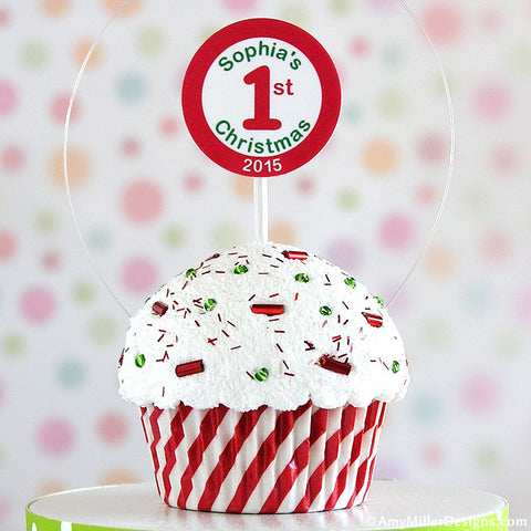Baby's First Christmas Red and White Swirly Stripe Mini Faux Cupcake Ornament