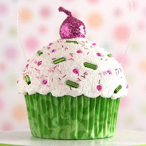 Green Damask Mini Faux Cupcake Decoration