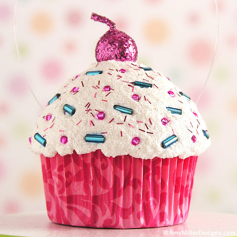 Pink Damask Mini Faux Cupcake Decoration