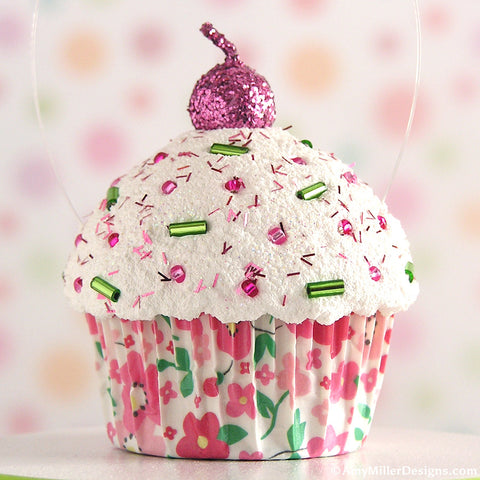 Pink Floral Mini Faux Cupcake Decoration