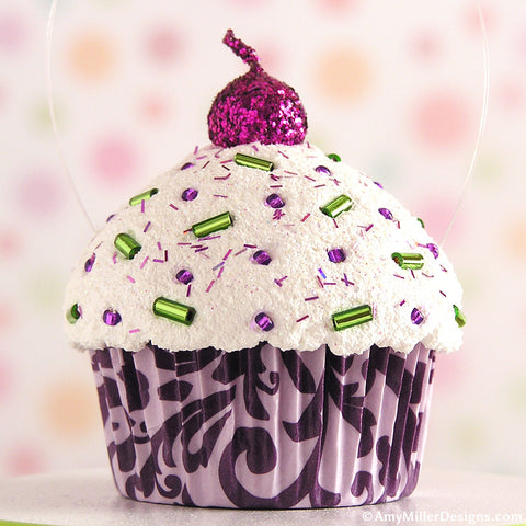 Purple Damask Mini Faux Cupcake Decoration