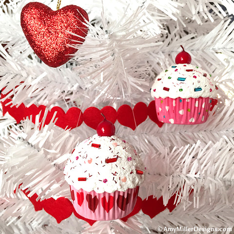Valentine's Day Tree Ornament - Pink Gingham Cupcake