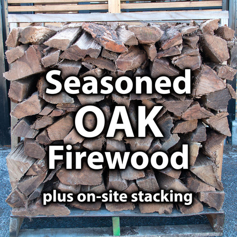 1/2 Seasoned (split 4-5 months) Oak Firewood - 1 Pallet + Stacking