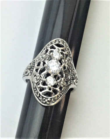 R.S. Covenant 4153 Sterling Silver & Cz Antique Style Ring Size 10