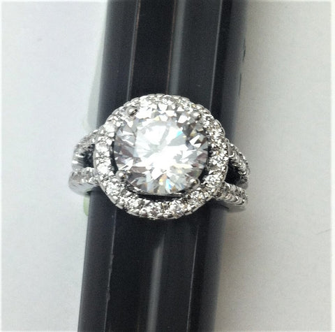 R.S. Covenant 929 Round Halo Cz Ring Size 7