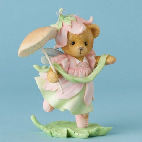 Enesco Cherished Teddies Hush and Hear the Whisper of Fairies Bear Mushroom Figurine