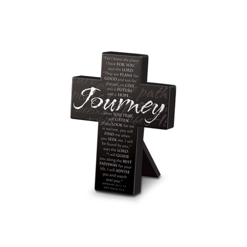 Lighthouse Christian Small Metal Black Journey Desktop Cross, 3 3/4 x 5