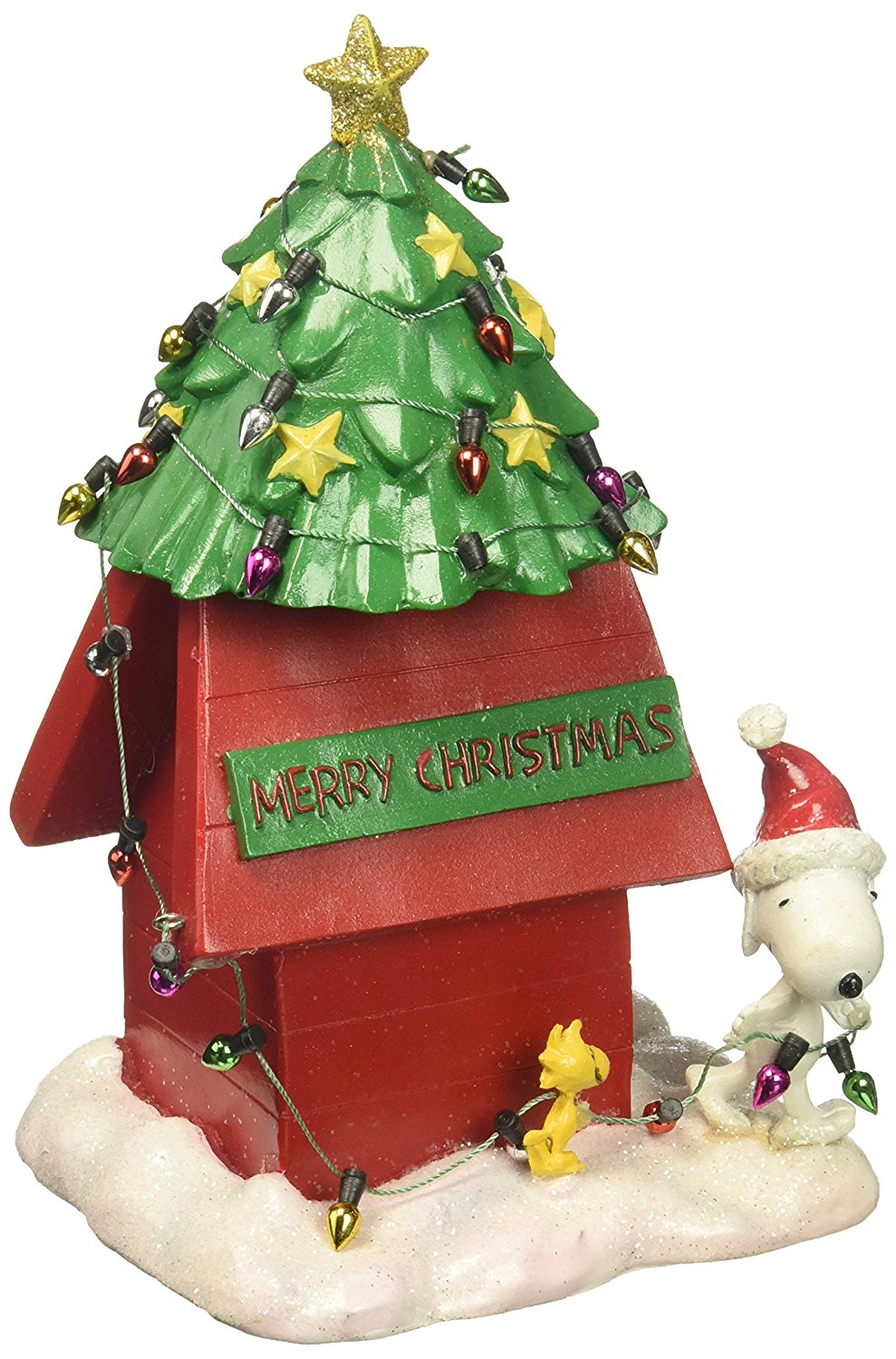 department 56 4058130 peanuts christmas dog house figurine - Department 56 Peanuts Christmas