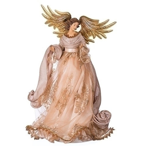 "Roman 130407 19.5""STANDING ANGEL TREETOPPER W/ANTIQUE GOLD WINGS"