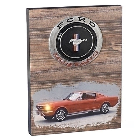 "Roman 130503 15.75""LED 1965 MUSTANG PLAQUE WOOD WITH RESIN GAS CAP B/O"