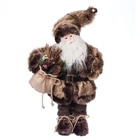 "Roman 130587 18""FUR COAT SANTA FIG W/BAG"
