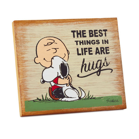 Hallmark Peanuts The Best Things Are Hugs Wood Quote Rustic Wood Sign