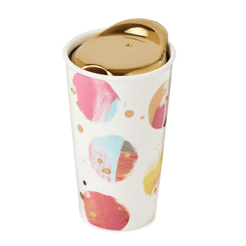 Hallmark Signature Gold dots and Watercolor Travel Mug
