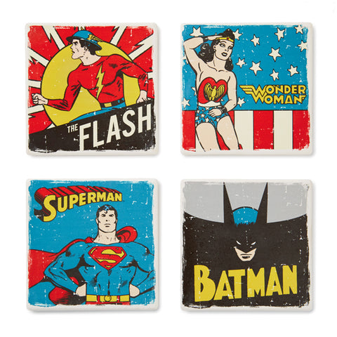 Hallmark DC Comics Super Hero Ceramic Coasters, Set of 4