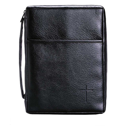 Dicksons BC-830 Soft Black Embossed Cross with Front Pocket X-Large Leather Look Bible Cover with Ha