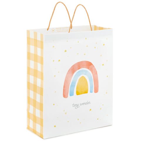 Hallmark EGB7165 Watercolor Rainbow and Stars New Baby Extra-Large Gift Bag 15.5""