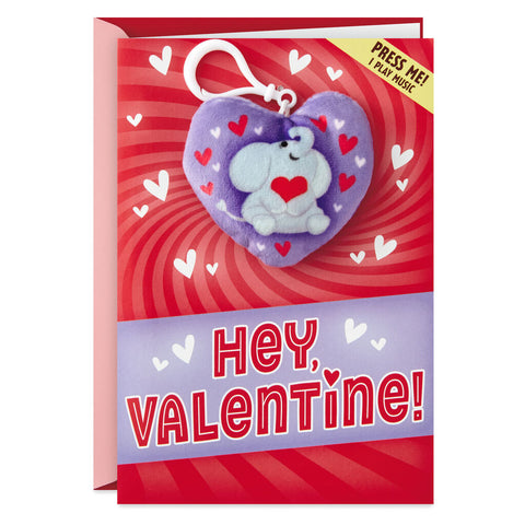 Elephant Valentine's Day Card With Removable Musical Backpack Clip