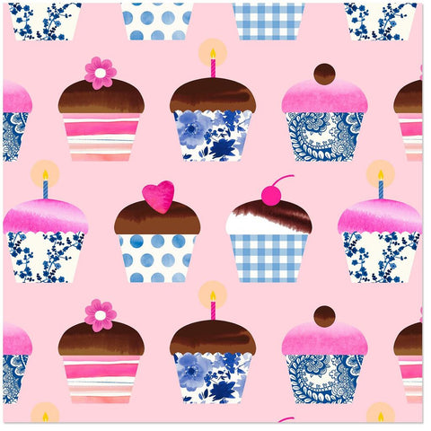 Hallmark Cupcakes on Pink Wrapping Paper Roll