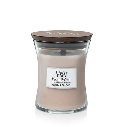 WoodWick Vanilla Sea Salt Medium Hourglass Candle, 10 oz.