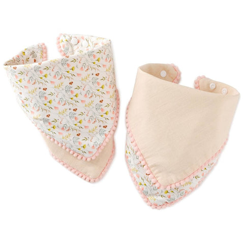 Hallmark Pink Floral Reversible Kerchief Baby Bibs, Set of 2
